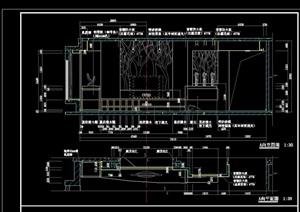 现代电视墙cad立面图