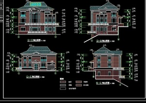 歐式三層別墅詳細建筑設計cad施工圖
