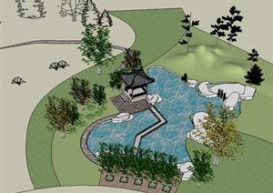 中式风格古典园林旅游景观设计SU(草图大师)模型