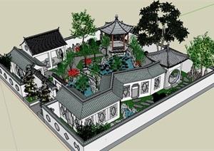 中式风格古典园林景观设计SU(草图大师)模型