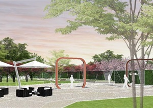 现代风格大型屋顶花园景观设计SU(草图大师)模型