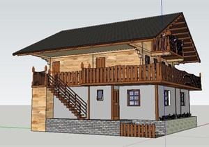 中式風格二層木結構房屋模型