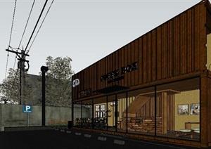 中式风格双层木制咖啡屋的SU(草图大师)模型