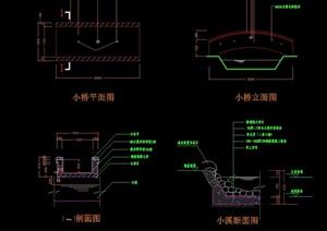 想现代完整园桥过河桥设计cad施工图