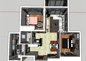 精品室内欧式风格户型装潢设计SU(草图大师)模型