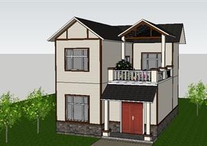 歐式風格二層小別墅住宅建筑模型