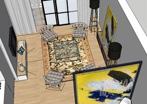 现代风格完整室内现代家装图SU(草图大师)模型