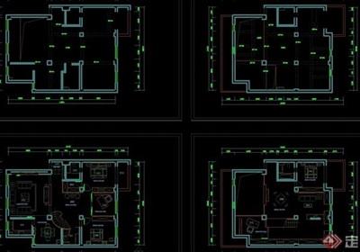 详细的整体别墅装饰设计cad施工图