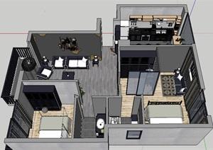 工业风格室内住宅家装设计SU(草图大师)模型