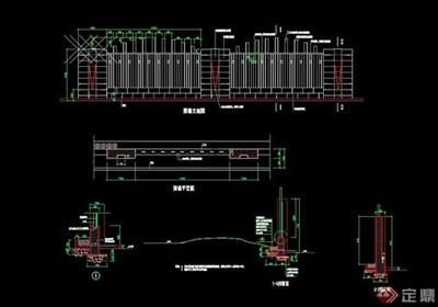 详细的整体完整围墙设计cad施工图