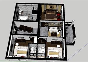 中式风格别墅2F室内设计SU(草图大师)模型