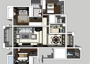 新中式风格室内家装设计SU(草图大师)模型