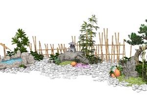 新中式景观小品 跌水景观 石头竹子 栅栏 松树 陶罐组合SU(草图大师)模型