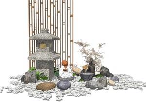 新中式景观小品 叠水景观 日式石灯 隔断屏风 枯枝石头组合SU(草图大师)模型