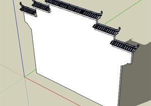 中式风格马头墙模型