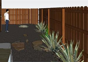 中式风格房子的木栅栏围栏SU(草图大师)模型