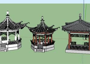 现代风格亭子SU(草图大师)模型集合打包