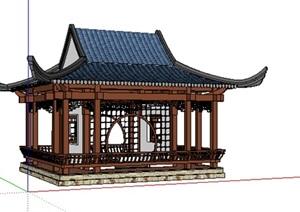 中式风格水榭景观亭子的SU(草图大师)模型设计