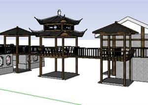 中式风格古建连廊 亭子SU(草图大师)模型