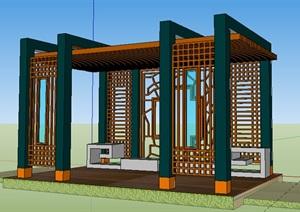 中式风格木质休息亭子廊架