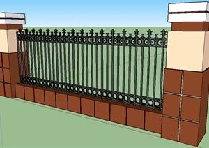 现代风格普通围墙铁艺栏杆SU(草图大师)模型