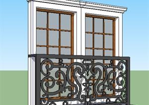欧式风格建筑铁艺栏杆SU(草图大师)模型
