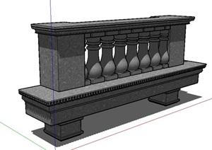 欧式风格铁艺栏杆护栏SU(草图大师)模型