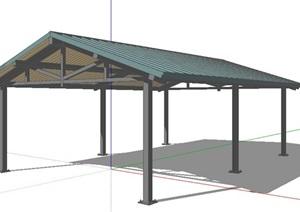 中式风格长廊的盖顶屋顶的SKP模型素材
