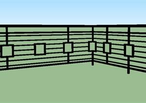 中式风格栏杆SU(草图大师)模型