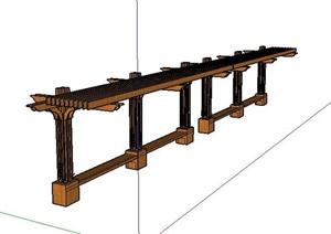 现代风格木质防腐廊架休息座椅