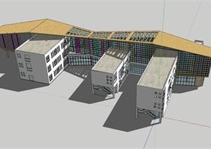 现代创意折板屋顶体块咬合式儿童活动中心幼儿园设计