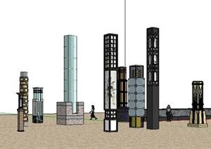 中式风格户外景观灯柱景观灯柱模型