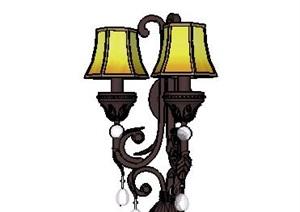 现代风格华丽的壁灯的SKP模型组件