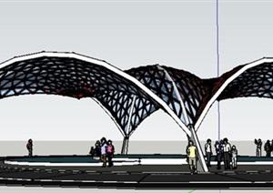 现代风格抛物线灯罩结构张拉莫模型