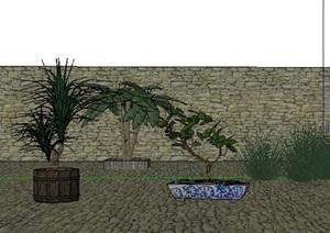 现代风格庭?#21495;?#26223;植物SU(草图大师)模型