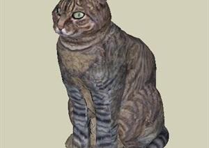 现代风格坐着的小猫咪模型