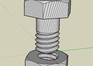 螺丝钉螺母的机械SKP模型
