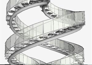 室内玻璃旋转楼梯SU(草图大师)模型