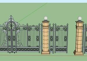铁艺栏杆围墙大门素材设计SU(草图大师)模型