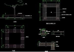 方形树池坐凳园凳设计cad施工图