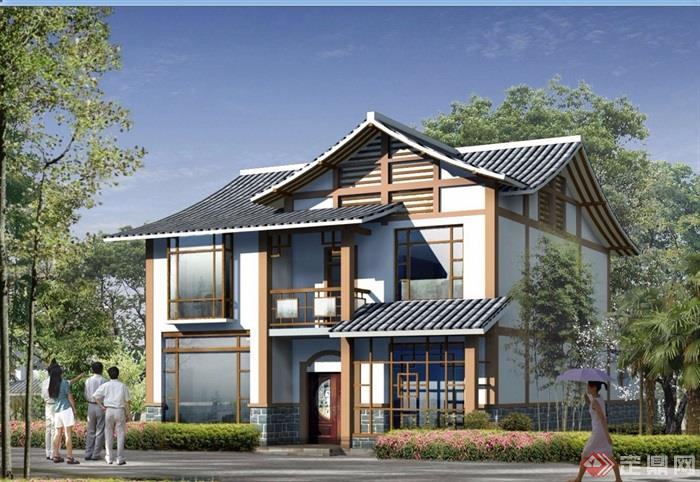 中式两层详细的别墅设计jpg方案及效果图