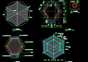 六角中式古亭子施工图纸