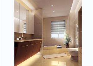 某卧室卫生间装饰详细设计3d模型及效果图