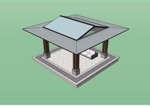 详细的整体完整亭子素材设计SU(草图大师)模型