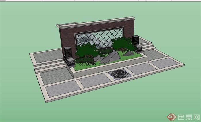 园林景观节点景墙素材su模型图片