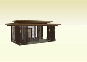 新亚洲新中式景观廊架模型