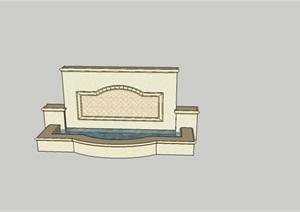 美式流水景墙SU(草图大师)模型背景墙
