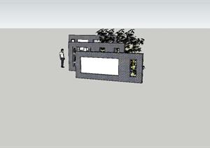 经典中式景墙SU(草图大师)模型,背景墙专用