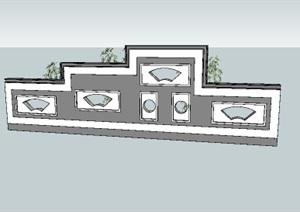 现代中式镂空景墙背景墙SU(草图大师)模型