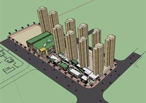 现代风格高层商业小区住宅SU(草图大师)模型